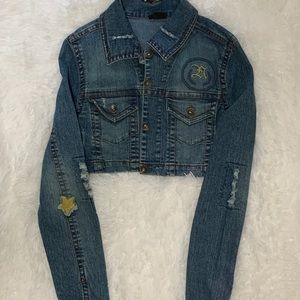 Cropped Jean jacket with patches